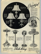 1940 PAPER AD Ash King Floor Ash Tray Presto Lever Smoker Kingsley Lamps