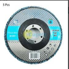 "5 X Flap Grinding Sanding Discs 115mm 4.5"" 60 Grit Angle Wheel Zircon Kit"