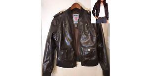 Pepe Jeans London Faux Leather Bomber Jacket Size Large Brown NWOT