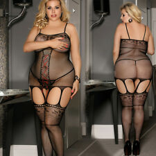 Black Plus Size Bodystocking Fishnet Satin Lace Up Crotchless Queen 1x 2x 3x