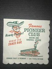Pioneer Club Hotel Casino Vegas Vic Keno Advertisement Original Napkin Las Vegas