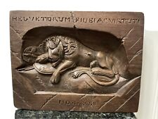 Antique Hand Carved Wood HELVETIORUM FIDEI VIRTUTI- The Dying Lion Of Lucerne