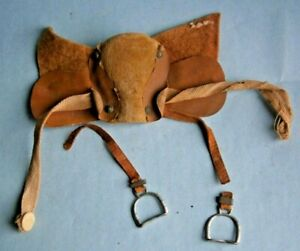 19th Century Toy Leather Horse Saddle for Pull Toy & horse parts