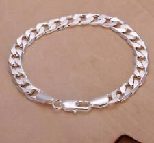 Da Uomo, Unisex 925 Argento Sterling riempito placcato 8mm cordolo catena bracciale, Regno Unito