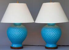 Pair 2 Ralph Lauren Turquoise Blue Pineapple Ginger Jar Lamps