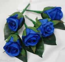 5 X SILK WEDDING BOUQUET ELECTRIC BLUE ROSE ROSES GROOM BUTTON HOLE GROOMS PIN