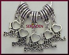 5 I Love My Husband Dangle Silver Charms European Style 15 * 25 & 5 mm Hole S175
