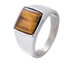 Men Rectangle Tiger Eye Stone Silver Titanium Stainless Steel Ring Men 8-12