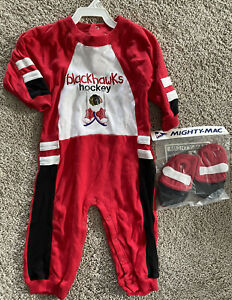 Chicago Blackhawks Mighty Mac NHL Embroidered Romper Jumper 18 Months W/ Booties