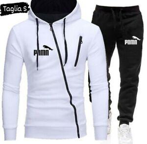 Tuta modello Puma tuta completa uomo, felpa con cappuccio, zip trasversale TG S