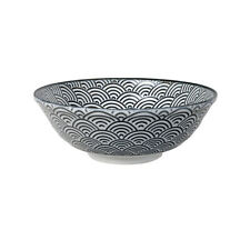 Tokyo Design Studio Bowl  Black/White with Waves Nippon Black 21 x 7.8 cm 1000ml