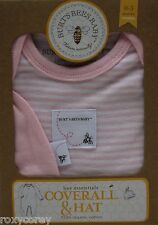 Burt's Bees Baby Pink & White Striped Coverall & Hat Set Size 0-3 months NIB