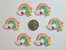 6 Pcs Lot rainbow Flatback Resin Cabochon Hair Bow Center Supply.