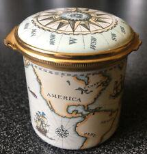 Halcyon Days Vintage World Map Battersea Staffordshire England Tall Enamel Box