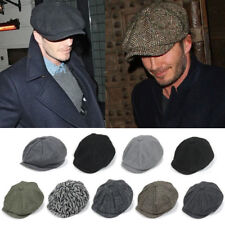 Men Tweed Herringbone Newsboy Cabbie Flat Hats Gatsby Peaky Blinders Sun Ivy Cap