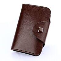 COFFEE Classic Minimalist Genuine Leather Wallet Small Mini Credit Cardholder