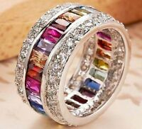 Luxury Rainbow Topaz CZ Promise Wedding Band Ring 925 Silver Jewelry Size 5-12