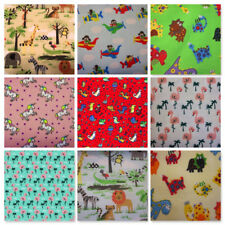 CHILDRENS MASKS NHS SCRUBS FABRIC FAT QUARTERS DINOSAURS PLANES SAFARI FLAMINGOS