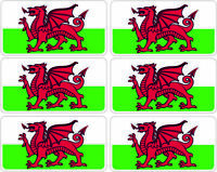 SelfAdh small WELSH FLAG  stickers/decals (SET OF 6) .Racecar/Mini/Boats/toys