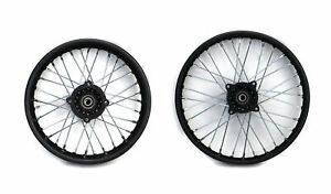 """14"""" & 17"""" Pit Bike Dirt Wheels Rims Black Front & Rear SDG Pair 15mm Spindle"""