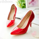 Women's High Heel Patent Leather Pointed Toe Pumps Office Shoes AU Plus size
