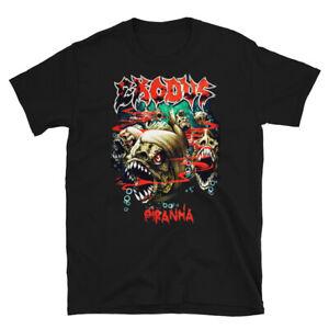 Exodus Piranha T-shirt Metal Band Men's Black For Summer Concerts Outdoor