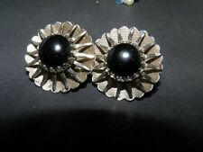 with black cabochon clip on earrings vintage estate sarah coventry silver tone