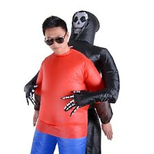 Inflatable Horror Black Skeleton Ghost Costumes Halloween Cosplay Blow Up Party
