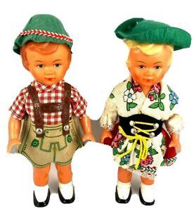 2 Vintage German Dolls Molded Hair Plastic M.W. Germany Celluloid $PRICE CUT$