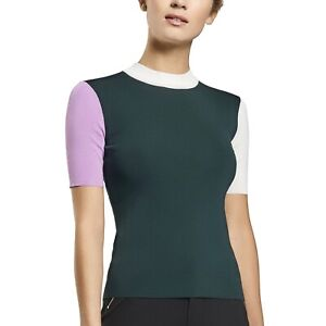 G/Fore Color Block Mock Neck Sweater Top NWT $195 Pine L XL Womens Golf GFore