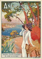 ANTIBES COTE D'AZUR Vintage French Travel Poster. 250gsm A3 Print, 1910
