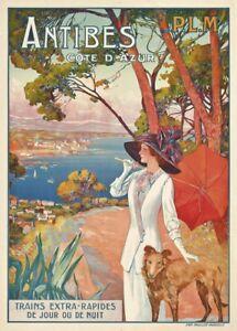 Antibes Côte d'Azur, France, 1910, Vintage French Art Nouveau Travel Poster