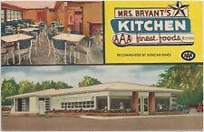 Mrs. Bryant's Kitchen Restaurant in Statesboro GA Postcard 1957