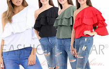 One Shoulder Frill Top Ruffle Layer Cotton Blouse Womens One Sleeve Holiday Top