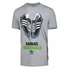 Adidas Originales Para Hombres L Boys 18 PTP 36 SL 72 Gráfico Trébol Camiseta Gris BNWT