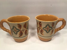 2 ARTIMINO TUSCAN COUNTRYSIDE SIENNA YELLOW CUP MUGS