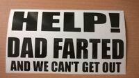 funny dad farted rude fun joke vinyl car van side sticker rear window door vw