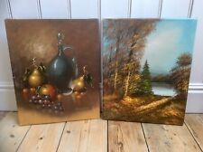 Pair Genuine Old 1900s Oil Painting on Canvas,Signed,Large,Feature Wall,Genuine
