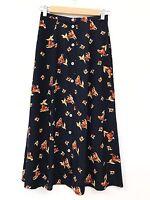 Vintage Skirt 6 8 Petite High Waist Floral Blogger Autumn Midi 90s Grunge