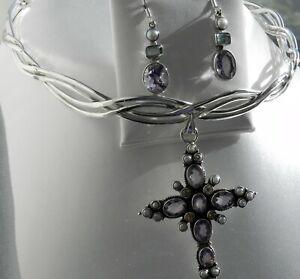 ✨EXQUISITE✨ 55g sterling silver 925 full HM gemstone pendant choker earrings set