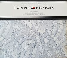 New Tommy Hilfiger Navy Palm Leaves on White Sheet Set 3 Piece Twin
