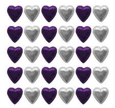 100 CADBURY CHOCOLATE PURPLE AND SILVER HEARTS-WEDDING FAVOURS BIRTHDAY PARTIES