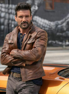 Frank Grillo Boss Level Leather Jacket Celebrity Pure Leather Jacket For Men's
