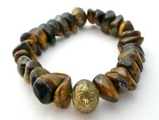 TIGER'S EYE STRETCHY BRACELET CHUNKY BROWN GEMSTONE NUGGETS BRASS BEADS
