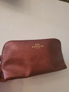 Coach Cosmetic Case / Makeup Bag Pouch Leather Red