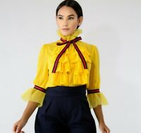 DESIGNER INSPIRED YELLOW SHEER PLEATED CHIFFON BOW TIE TOP