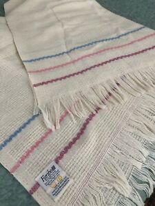 """White FARIBO wool  throw with pink/ blue/maroon stripes 50"""" x 62"""" Faribault, MN"""