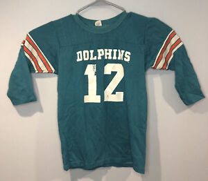Vintage 70's NFL Dolphins Long Sleeve Jersey Shirt #12 Bob Griese Large 14-16