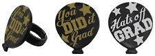 24 Graduation Balloons Cupcake Ring Toppers/Favors! NEW! Party Supplies (SILVER)