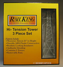 MTH RAILKING HI TENSION WIRE TOWER SET O GAUGE trains power electric 30-1056 NEW